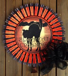 Halloween black cat clothespin wreath on Etsy, $40.00