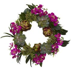 20in Orchid Artichoke & Succulent Wreath - Setting that perfect atmosphere for those bright and sunny Spring days, this unique Orchid, Artichoke & Succulent Wreath is the best way to welcome in a new season of perfect weather and fun times with friends and family. The rich purple colors and extraordinary orchid and artichoke accents are a great way to make this piece the center of attention for anyone who stops and takes a look at this exceptional piece. Number of Trunks: NA Number of…