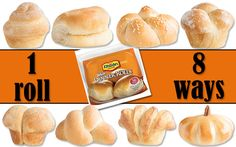 Rhodes one roll eight ways. All you need is one bag of Rhodes dinner rolls, and you've got eight different shaped roll options! Enjoy your visual guide to Rhodes shaped rolls all in one place!