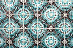 Tile Pattern :: Brown & Aqua