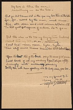 Citation: My love is like the sea: returning - as the tide -, 1915 May . Beatrice Fenton papers, Archives of American Art, Smithsonian Institution.