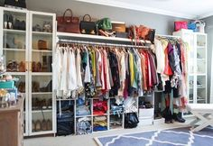Closet: bookshelves and cubicles great for a low budget (target, ikea, bed bath)