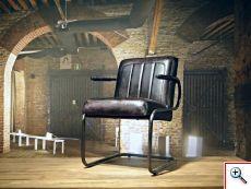Stoere industriele stoel gemaakt van 100% handgewassen ongecorrigeerd buffelleer. Elke stoel is dus uniek en bevat de oneffenheden welke kenmerkend zijn voor ongecorrigeerd leer. Deze stoel is leverbaar in diverse kleuren en stiksels. Dit model is ook leverbaar zonder armleuning.