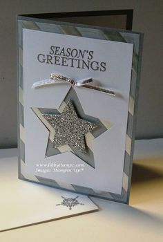 handmade Christmas card ... Bright & Beautiful stars ... luv the main panel showing a wide mat and negative space fill from the background paper ...