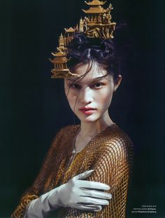 A pagoda in her hair! Beyond The Horizon, Sui He photographed by Chen Man for Muse Fall 2012.