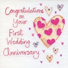 A beautiful first anniversary card with a heart design, from an original embroidery by Jo Corner.The caption reads congratulations on your first wedding anniversary. The card is embossed and hand finished with blue and clear jewels. The card is bl. 1st Wedding Anniversary Quotes, Anniversary Wishes Message, Happy First Wedding Anniversary, Anniversary Wishes For Husband, Happy Anniversary Cards, Marriage Anniversary, Wedding Quotes, Anniversary Ideas, Wedding Wishes
