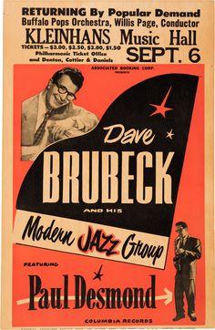 Dave Brubeck Kleinhans Music Hall Concert Poster (circa | Lot #89198 | Heritage Auctions Vintage Concert Posters, Vintage Posters, Music Posters, Theatre Posters, Band Posters, Jazz Artists, Jazz Musicians, Festival Jazz, Dave Brubeck