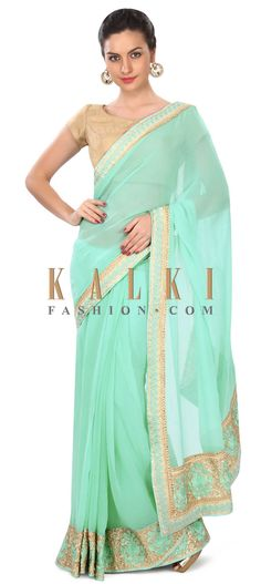 Buy this Sea green saree in resham and sequin embroidered border only on Kalki