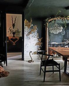 At a glance, all seems to be well but this dining room of mine will not stand up to close scrutiny today 🙈 Look closely through the mirror… Half Painted Walls, Interior Decorating, Interior Design, Dark Interiors, Green Rooms, My New Room, Wabi Sabi, Decoration, Interior Inspiration