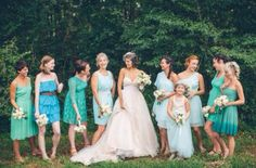 Mismatched turquoise bridesmaids dresses :)