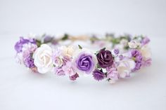 Paper Flower Headband Crown Circle wild 20 cm. rope is by Kamipapa