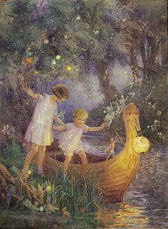 """""""Boat to Fairyland"""" - Illustration by Margaret Tarrant Vintage Fairies, Vintage Art, Vintage Books, Image Foto, Vintage Illustration, Flower Fairies, Fairy Art, Pics Art, Faeries"""