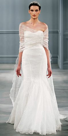 Monique Lhuillier Spring 2014: Oyster Chantilly lace shawl with detachable train and oyster Chantilly lace strapless trumpet gown.