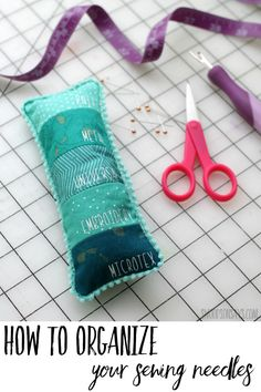 See how to organize your sewing machine needles with this free pincushion tutorial! Fun fabric scrap sewing project that organizes needles by type; makes a great gift. Easy Sewing Projects, Sewing Projects For Beginners, Sewing Hacks, Sewing Tutorials, Sewing Tips, Quilting Tutorials, Sewing Ideas, Craft Projects, Sewing Patterns Free