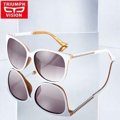 TRIUMPH VISION White Polarized Women Sunglasses Luxury Brand Design Ladies Shades 2017 Fashion Female Sun Glasses For Women New