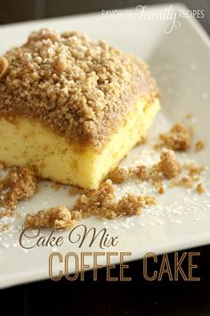 Couldn't be easier! Add chopped apples to the mix to make an apple-cinnamon streusel cake. YUM! This cake mix coffee cake is light and fluffy, yet moist and delicious. It is so easy to do and I almost always have all the ingredients on hand.