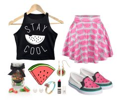 """""""Watermelon Skirt Gummies"""" by moscotwin ❤ liked on Polyvore featuring Sophia Webster, The Hampton Popcorn Company, Juicy Couture, Topshop, Betsey Johnson and Tiffany & Co."""