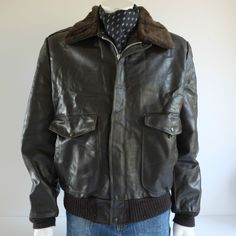 Vintage Mens Size 44 Tall A2 Flying Jacket by Sears Leather Shop. Made in USA