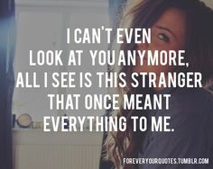 I can't even look at you anymore, all i see is this stranger that once meant everything to me.