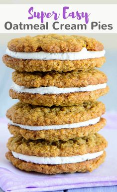 If you're searching for a soft oatmeal cookie with a creamy center, look no further than these super easy oatmeal cream pies. #oatmeal #cookies #dessert via @introvertbaker