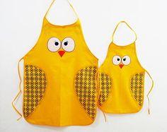 Kit Avental Coruja Mãe e Filha amarelo