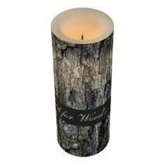Wooden Old Pine Bark Wood for Wood's sake Led Candle