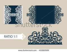 Layout congratulatory cards in three additions. The template for greetings, invitations, menus, etc. The picture suitable for laser cutting, paper cutting or printing. Vector
