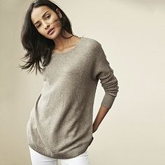 Buy Cashmere Curved Hem Jumper - Oatmeal Marl - from The White Company