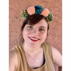 Sutton Pom Pom Headband  Festive Headband   Etsy Pom Pom Headband, Pom Poms, Cactus Stickers, Teal, Turquoise, Festive, Blush, Handmade, Style