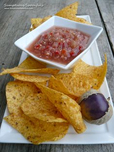 My yoga friend grew these pretty purple tomatillos in her garden and I was the lucky recipient of several of the beauties. The very first thing I did was blend some up into salsa. I love salsas lik… Mild Salsa, Heirloom Tomatoes, Stuffed Jalapeno Peppers, Great Recipes, Food Processor Recipes, Yummy Food, Salsa Recipe, Treats, Snacks