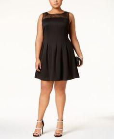 Ellen Tracy Plus Size Embellished Illusion Fit & Flare Dress - Black 22W