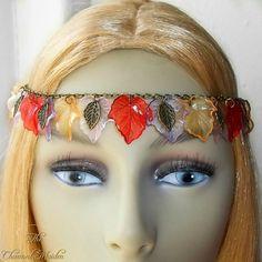 Autumn Leaves Headdress, Fall Circlet, Woodland Headpiece, Pagan Headdress, Rustic Circlet, Forest Fairy Crown, Fantasy, Cosplay, Larp