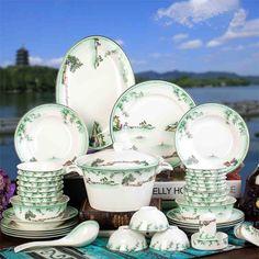 58 pcs alta qualidade Hangzhou G20 Sumit osso china jogo de jantar louça cerâmica pratos talheres presentes de casamento jogo de jantar em família