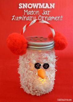 Snowman Mason Jar Luminary Ornament: glue gun, a sponge brush, a bag of Frosty Snow, orange air dry clay, a decorative mason jar lid, and Americana Decou-Page.