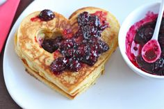 Heart-shaped Clementine Cornmeal Pancakes with Maple Blackberry Compote | TheCornerKitchenBlog.com