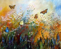 """""""Chamomile Garden Butterflies Painting"""" by Ginette Callaway, Georgia // Large Mural Size painting. The original is 64 inches tall and 77 inches wide. Please contact me if you are interested in large mural size paintings.  ginette@ginettefineart.com // Imagekind.com -- Buy stunning, museum-quality fine art prints, framed prints, and canvas prints directly from independent working artists and photographers."""