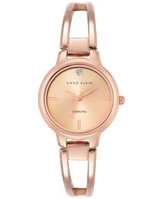 Anne Klein Women's Diamond Accent Rose Gold-Tone Stainless Steel Bracelet Watch 30mm Ak-2626RGRG