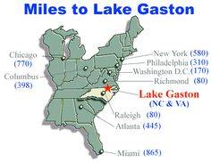 A helpful map of the miles between you and beautiful Lake Gaston!