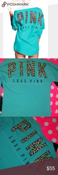 Victoria Secret Pink Cheetah Crew I've been debating on whether or not to get rid of this one... but since it's been hanging in my closet & I never wore it I decided to sell. It's brand new with tags  size small Aqua colored Cheetah Varsity Crew!!  PINK Victoria's Secret Tops Tees - Long Sleeve