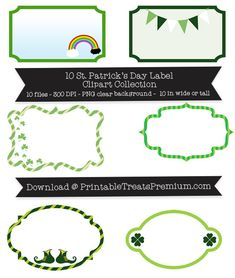 10 St. Patrick's Day Label Clipart Collection