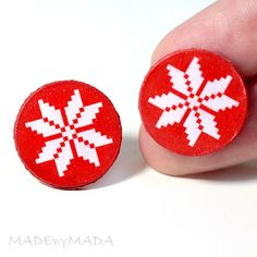 SALE Nordic sweater Post Earrings Christmas Jewelry by MADEbyMADA, $10.20