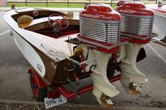 Vintage twin Mercury outboards