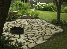 flagstone pavers and fire pit