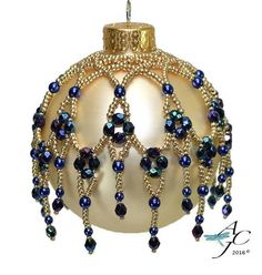 Left Handed Easy beaded ornament dripping with Swarovski bicones or Czech Fire Polished – Cathedral Windows – Left Hand PDF Beading Pattern – Jewelery Beaded Christmas Decorations, Beaded Christmas Ornaments, Diy Ornaments, Felt Christmas, Homemade Christmas, Christmas Crafts, Angel Ornaments, Christmas Balls, Natal Country