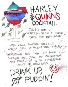 Harley Quinn / Suicide Squad cocktail decided to do a little take on the…