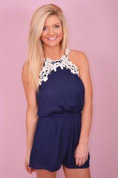668c60b829c1 Sweet Embrace Romper Navy Crochet Trim Romper shopbelleboutique.com Trendy  Online Boutiques