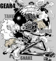 Luffy Gear Fourth Bounce Man Tankman Snakeman One Piece Manga, One Piece Drawing, One Piece Comic, One Piece 1, One Piece Images, One Piece Luffy, Otaku Anime, Manga Anime, Luffy Gear Fourth