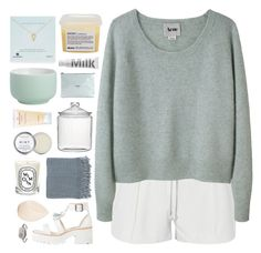 """""""still look pretty"""" by omgjailah ❤ liked on Polyvore featuring Elizabeth and James, Acne Studios, Dogeared, MILK MAKEUP, Davines, CB2, Golden Goose, Crate and Barrel, Herbivore and Diptyque"""