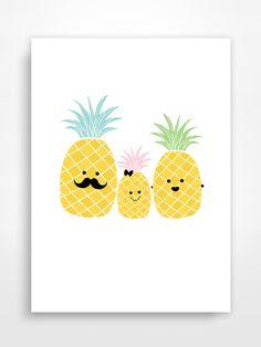 Affiche décorative * Ananas. Pineapple. : Décoration pour enfants par pagaille-et-cie