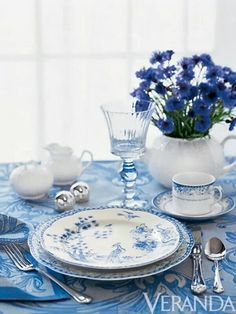 Blue and white wirh blue tablecloth